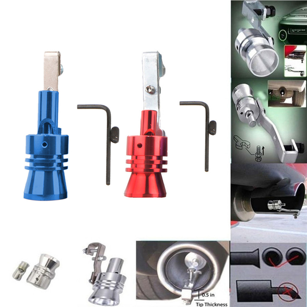 2PCS Universal Turbo Sound Exhaust Whistle//Fake Blow Off BOV Simulator Blue S