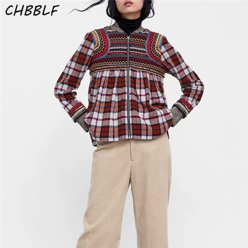 CHBBLF women chic embroidery plaid jacket long sleeve stand collar pleated coats vintage female casual outerwear tops BGB8535