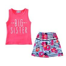 Conjunto de roupas menina verão carta seta t shirt + saias flores 2 pcs crianças meninas roupas de bebê roupas de menina 2017 nova irmã mais velha conjuntos