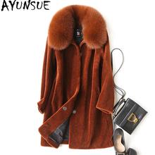 AYUNSUE 2018 Natural Sheep Shearing Fur Coat With Real Fox Fur Collar Winter Jacket Women Medium
