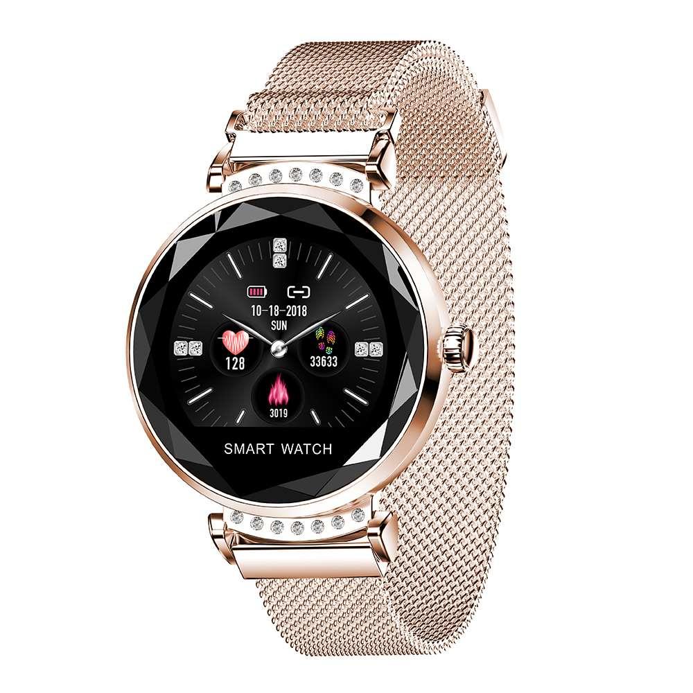 H2 femmes Bracelet intelligent montre 3D cadran boîtier UI affichage IP67 fréquence cardiaque moniteur de pression artérielle Bracelet en acier inoxydable Smartwatch