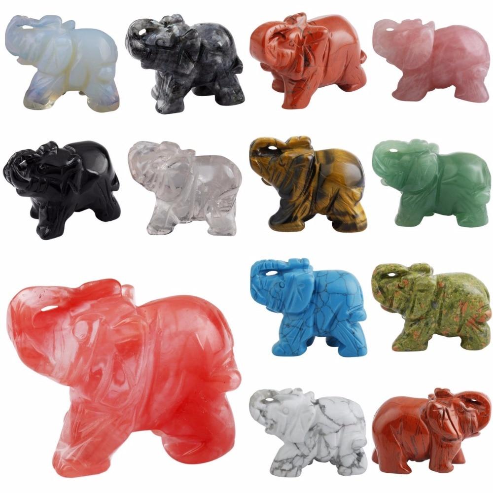 SUNYIK Healing Crystal Guardian Elephant Pocket Stone Figurines Carved Gem Stone Crafts