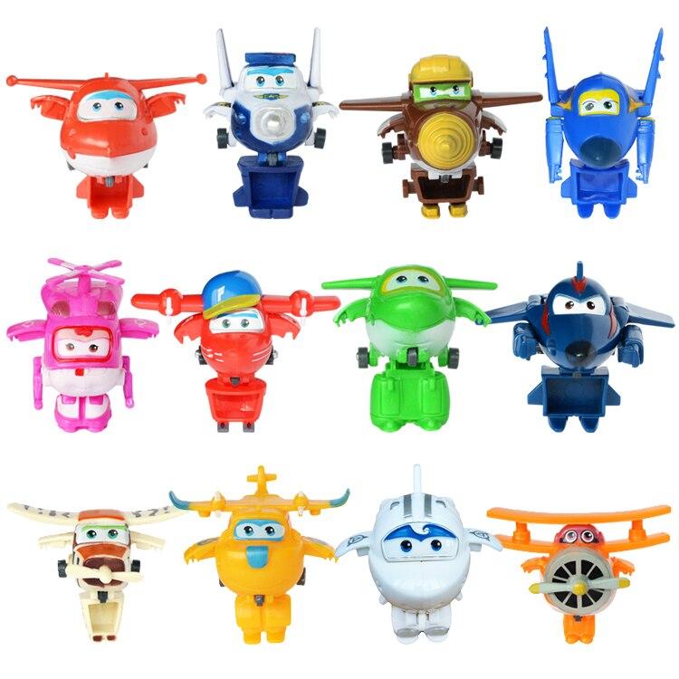 12 pièces/ensemble 7cm Super ailes Mini avion Robot bébé jouets figurines Action Super aile Transformation Animation pour enfants cadeau