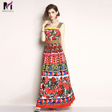 Merchall High Quality 2019 Summer Women Runway Spaghetti Strap Dresses Multicolor Rose Floral Printed Pleated Dress Plus Size