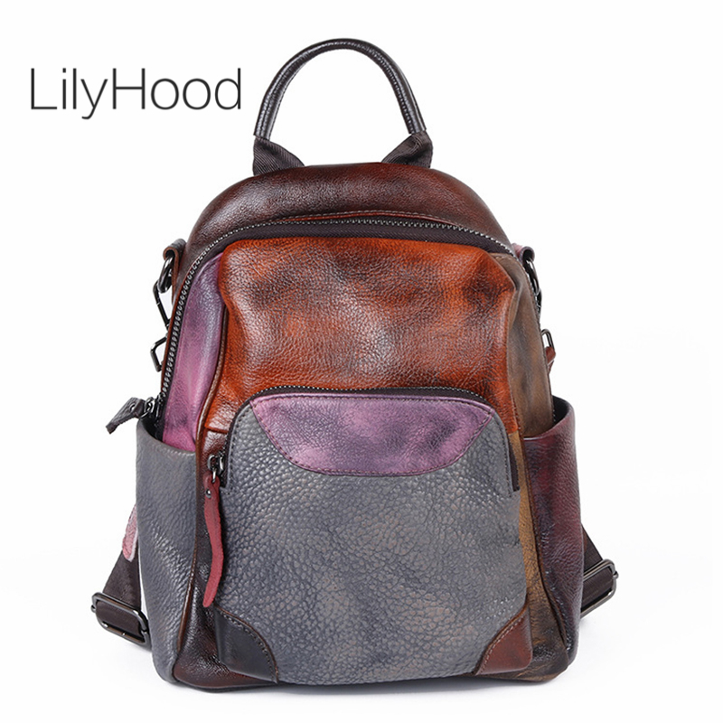 Handmade Natural Brush-off Leather Backpack Women Genuine Leather Small Packsack For School Female Student Casual Knapsack Bag