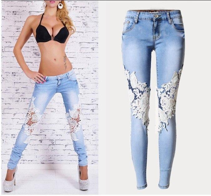 2016 Women Lace Jeans Pants Floral Splice Low Waist Jeans New Casual Women Denim Pencil Pants
