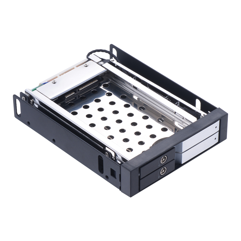 Uneatop 2.5in dual bay aluminum case sata mobile rack 2.5 ssd hdd enclosure with lock