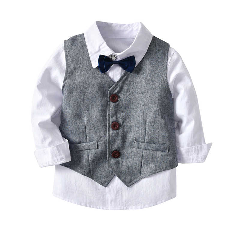 Jongens Wedding Suits Kids Kleding Peuter Formele Kinderen Pak Kinderkleding Grijs Vest + Shirt + Broek Jongens Outfit Baby kleding
