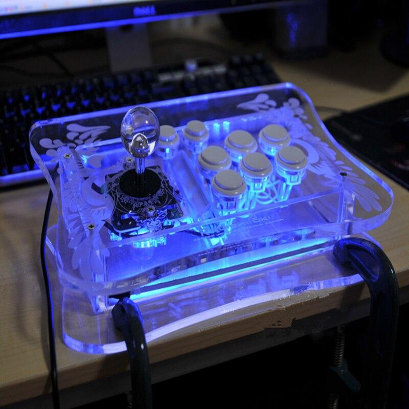 Contrôleur de jeu à bascule USB Cdragon manette d'arcade manette de jeu bâton de combat laser sculpture premium