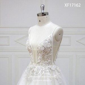 Image 5 - Robe De mariée à col en v, Train Court, avec appliques en dentelle, à perles De cristal, robe De mariée, XF17162