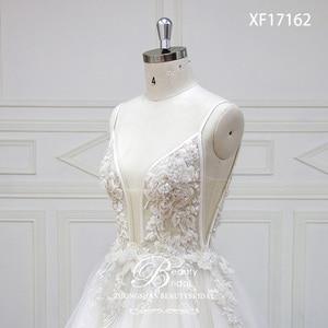 Image 5 - 웨딩 드레스 v 목 법원 기차 레이스 Applique 크리스탈 구슬 신부 드레스 가운 Vestidos 드 Novia XF17162
