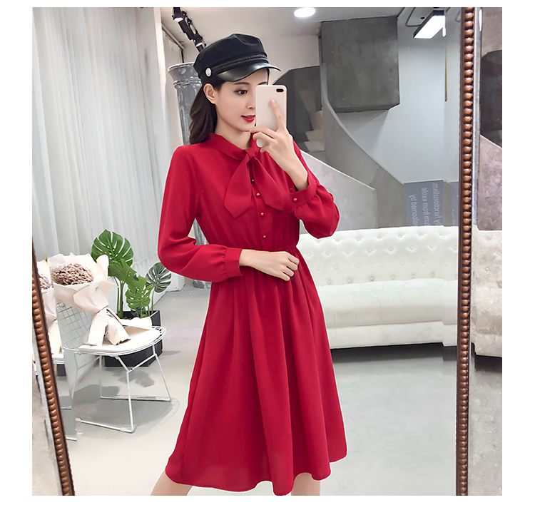 fashion bow collar women dresses party night club dress 2019 new spring long sleeve solid chiffon dress women clothing B101 13