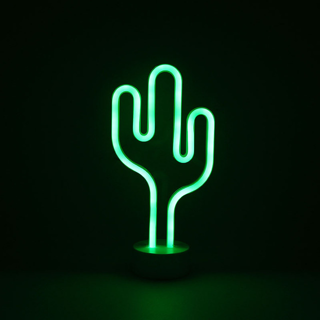 Cactus Tree Star Moon Neon Light Decoration Led Desk Lamp For Baby Room Bedroom Party