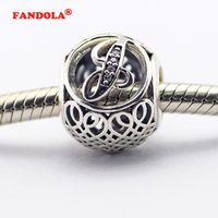 Fits Pandora Bracelet Vintage J Charms with Clear CZ 100% Original 925 Sterling Silver DIY Beads for Jewelry Making LE015-J