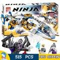 515 pcs novo 10223 ninja helicóptero aeronave brinquedo montado blocos de construção de brinquedos de presente menino compatível com lego