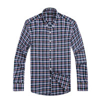 Plaid Shirt Long Sleeve Turn Down Collar Trendy French Cuff Tailored Casual Men Office Slim