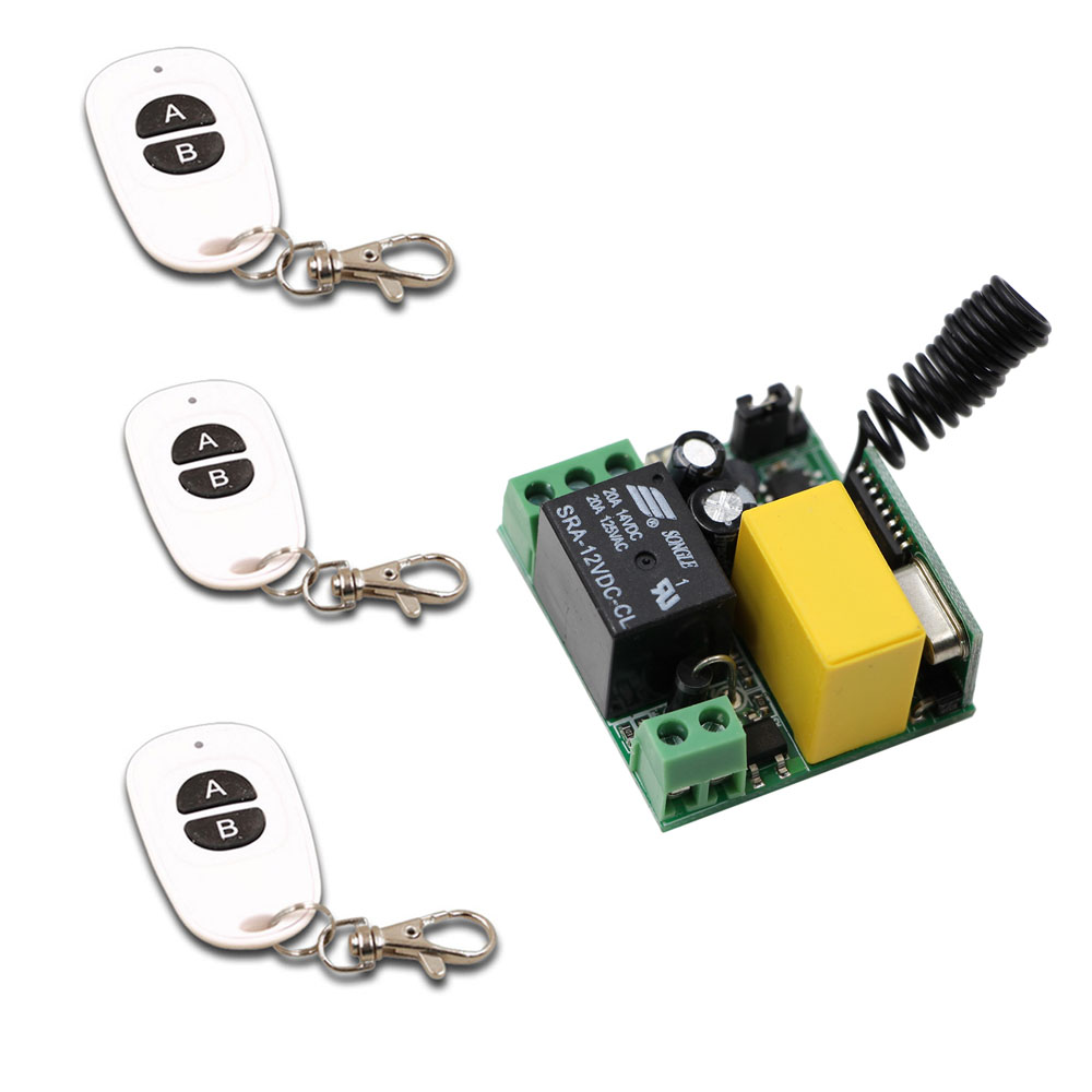 433Mhz Universal Wireless Remote Control Switch <font><b>AC</b></font> 220V <font><b>1CH</b></font> Relay Receiver Module and 3pcs <font><b>RF</b></font> <font><b>433</b></font> Mhz Remote Controls image