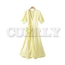 CUERLY women elegant deep V neck midi wrap dress half lantern sleeve sashes pleated female styish summer mid calf dresses