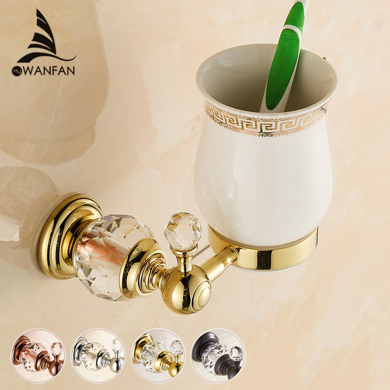 Cup & Tumbler Holders Wall mounted Toothbrush Cup Holder Soild Brass Gold Luxury Bathroom Accessories Wall Decoration HK-26 yanjun double crystal cup tumbler holder brass wall mounted toothbrush cup holder bathroom accessories cup holder yj 8065