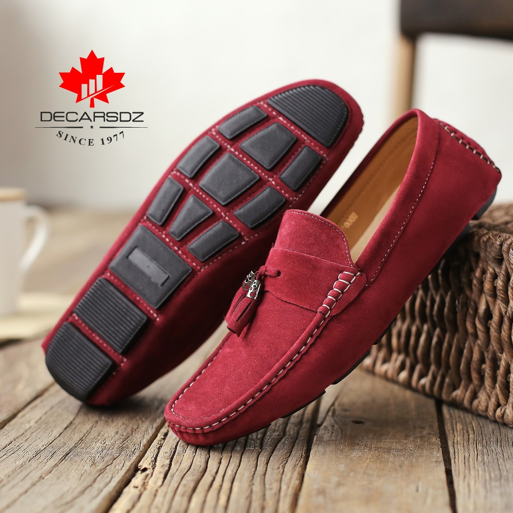 Casual loafers,DECARSDZ men's peas shoes,Spring and summer new casual shoes,Pure hand sewing Men's moccasin,Light flat shoes