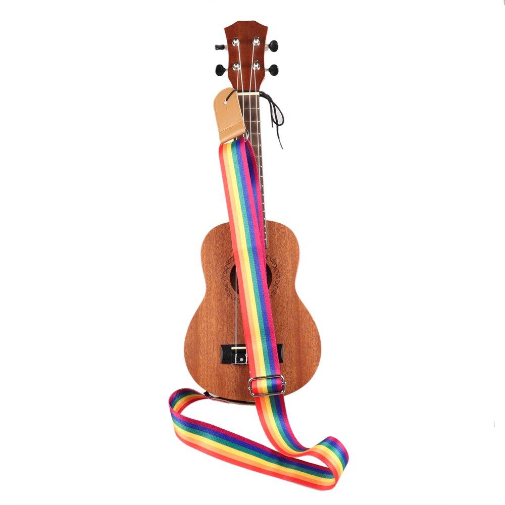 Купить с кэшбэком Adjustable Multicolor Ukulele Strap Soft Nylon Belt for Hawaiian Guitar Ukulele