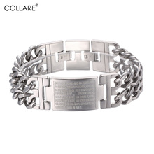 Collare Bible Cross Chain Bracelet Men Black/Gold Color Stainless Steel Curb Link Chain Bracelets & Bangles Men Jewelry H008