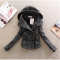 New 2016 fashion winter women coat slim short double breasted turn down collar autumn winter hooded wool jacket coat