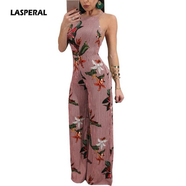 0a4bdbca86c LASPERAL Women Floral Printed Jumpsuit Spaghetti Strap Side Split Long  Pants Jumpsuits Overalls Backless Sexy Women Rompers