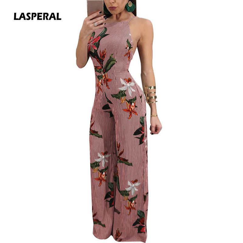 LASPERAL Women Floral Printed Jumpsuit Spaghetti Strap Side Split Long Pants Jumpsuits Overalls Backless Sexy Women Rompers