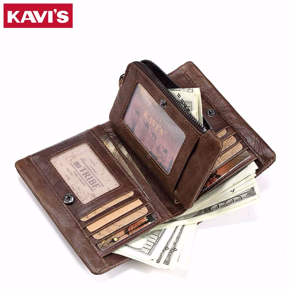 KAVIS Genuine Leather Wallet Men Card Holder and Coin Purse Rfid Walet PORTFOLIO Portomonee Mini Vallet Fashion for Male cuzdan kavis new genuine leather men wallets vintage coin purse luxury brand bifold portfolio rfid fashion magic vallet male cuzdan