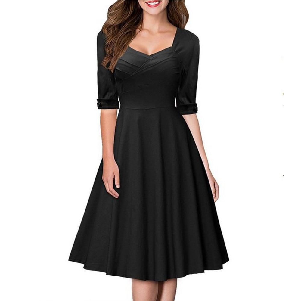 Black dress retro - Fashion Women V Neck Half Sleeve Vintage Dress 1950s 60s Celebrity Retro Style Rockabilly Pin Up