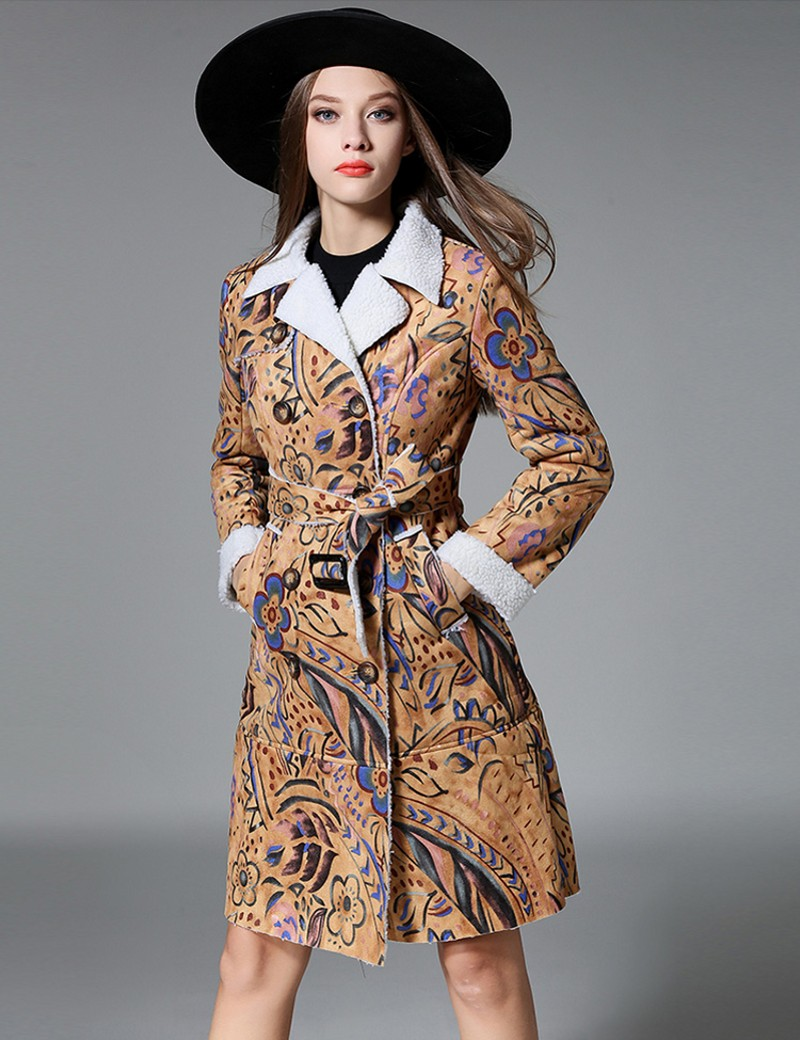 2016 new autumn and winter women's long section thick lamb's wool   suede   jacket cotton padded   leather   jackets 9299