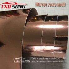 50CM * 1 M/2 M/3 M/4 M/5 M rolka Car styling wysokie rozciągliwe lustro różowe złoto chromowana lustrzana folia winylowa rolka arkusza Film naklejki samochodowe
