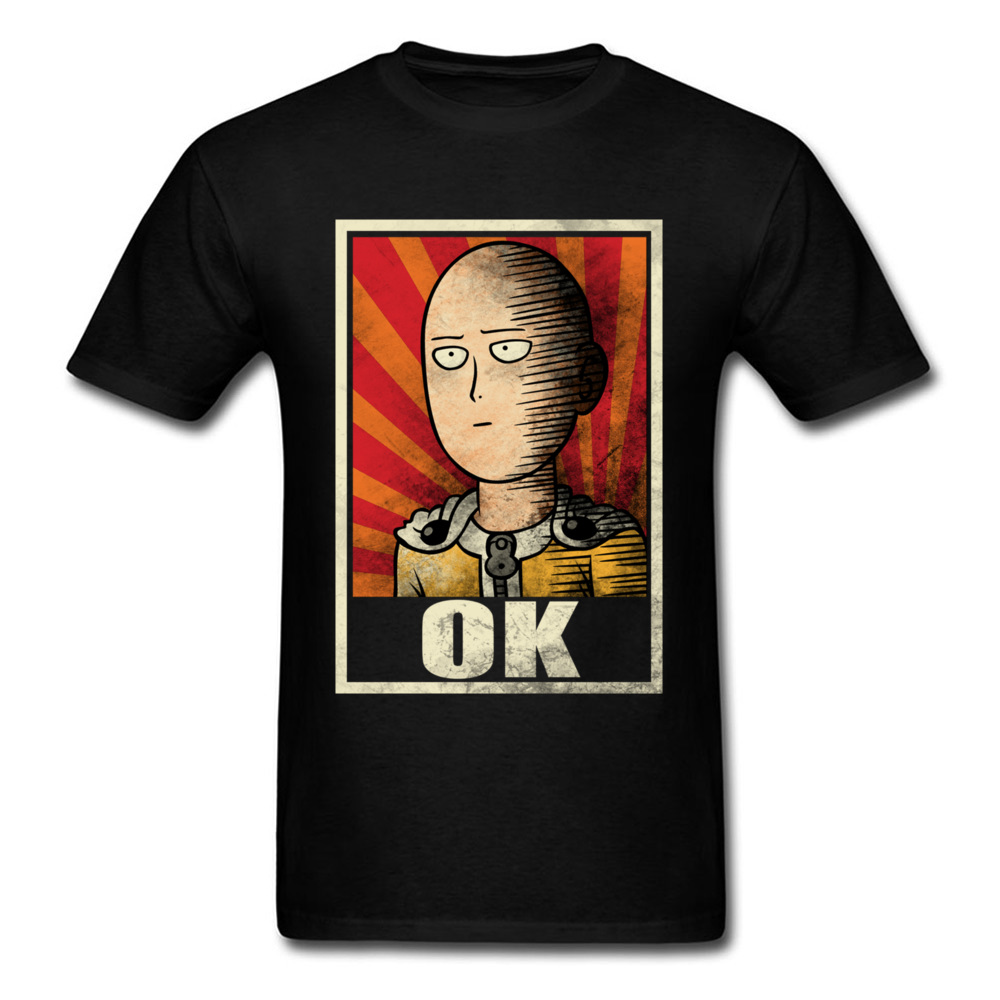 OK One Punch Man T Shirt Superhero Clothing Black Tshirt Mens 100% Cotton Tops Summer Tees Vintage Anime T-shirt Funny