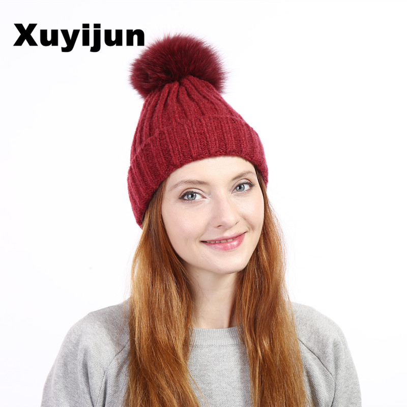 Xuyiju Hot sale real mink fur hat for winter women knitted mink with skullies beanies 2017 brand thick female hats mink skullies beanies hats knitted hat women 5pcs lot 2299