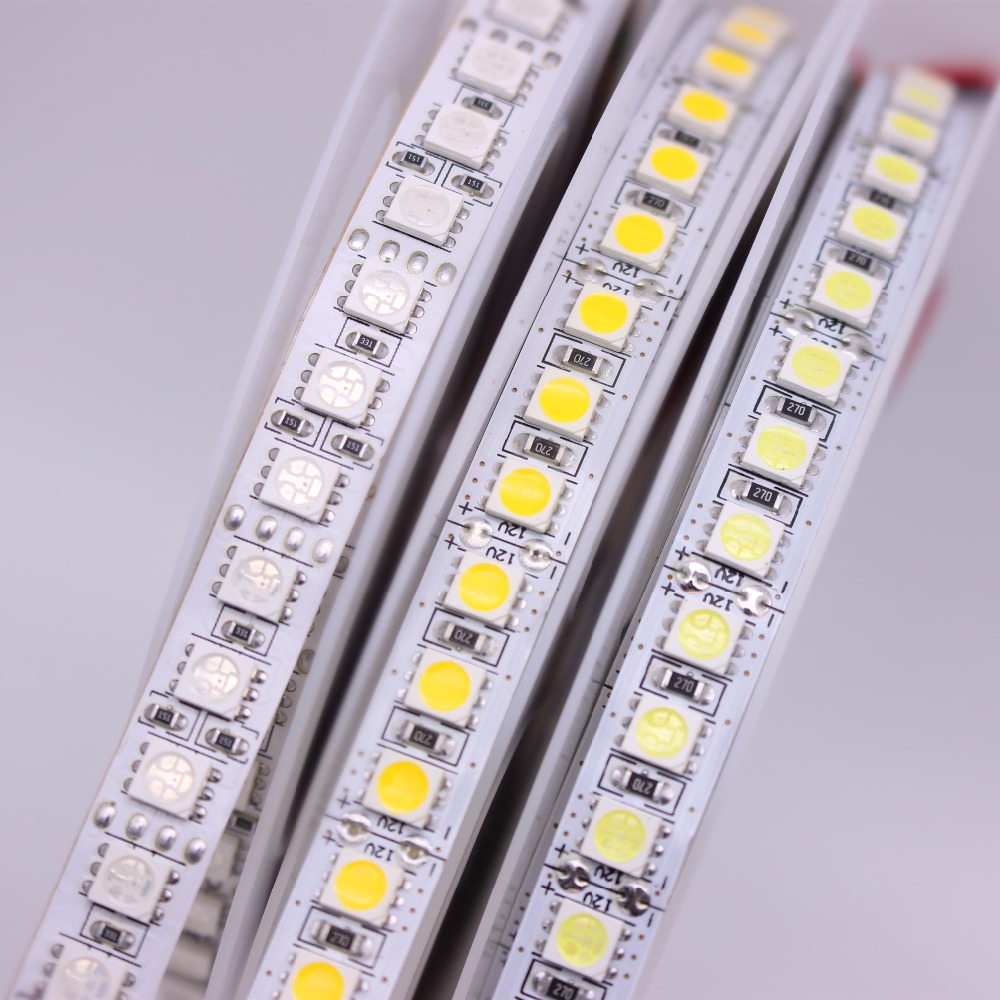 5M LED Strip 5050 DC12V 24V 120LEDs/m  Flexible LED Strip Tape Lighting  RGB /Warm White/White 5050 LED  High Brightness