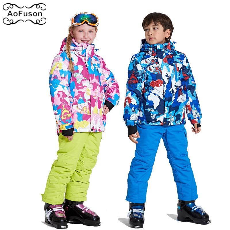 Kids Ski Suits Jacket&Pants Windproof Warm Waterproof Breathable Snowboard Snowboard Warm Children Coat Set Child Boy Girl WearKids Ski Suits Jacket&Pants Windproof Warm Waterproof Breathable Snowboard Snowboard Warm Children Coat Set Child Boy Girl Wear