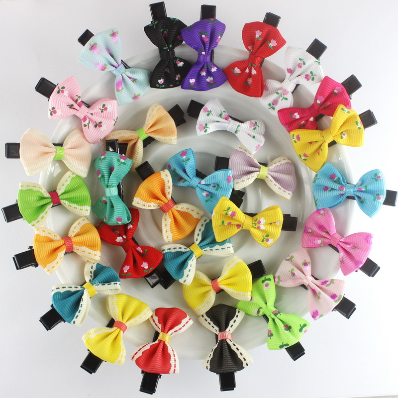 10pcs isnice Headwear Novelty Barrettes New 2017 Floral Hair clips,Baby 4cm hairpins new Year gifts hair ornaments For Girls