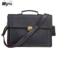 DESIGN MYBAG Men Briefcase Business Leather 15.6 Laptop Handbag Vintage Single Shoulder Bag Document Office Tote Bags for Man
