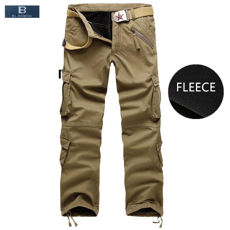 [el Barco] Winter Fleece Cotton Casual Pants Men Soft Warm Military Cargo Pants Khaki Black Army Green Long Trousers Plus Size