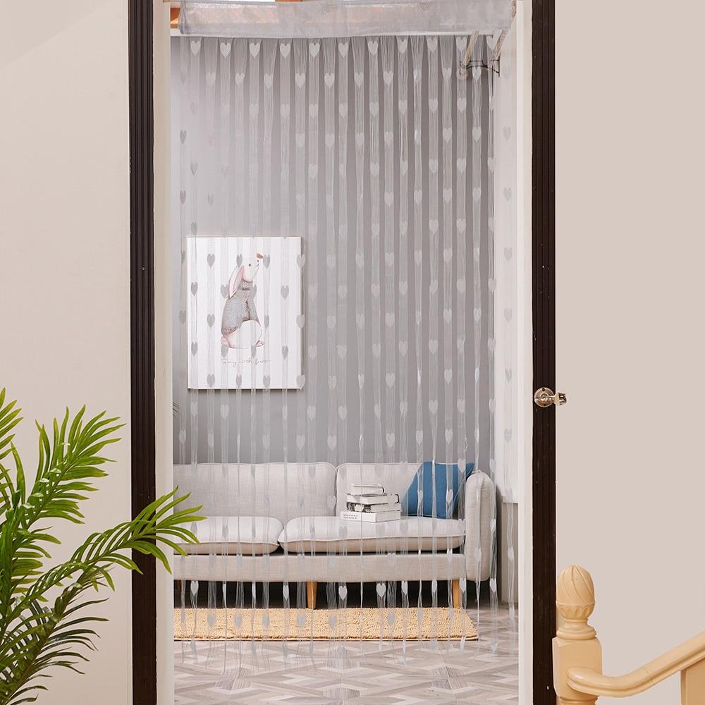 0.5x2M Romantic Love Heart Line Tassel String Door Curtain Window Room Panel Divider Strip Drape Valance Decor for Living Room