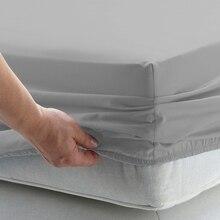 Sábana de cama sólida, sábana ajustada con banda elástica, ropa de cama lisa, tamaño King Queen, Funda de colchón, Sábana rusa 160x200cm