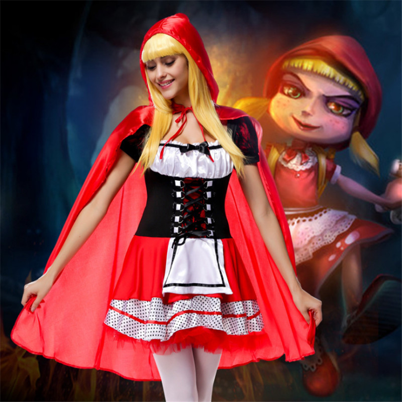 new Classic fairy tale Little Red Riding Hood Dress With cloak red Maid Party Costume Halloween Small Red Cap cosplay Costume