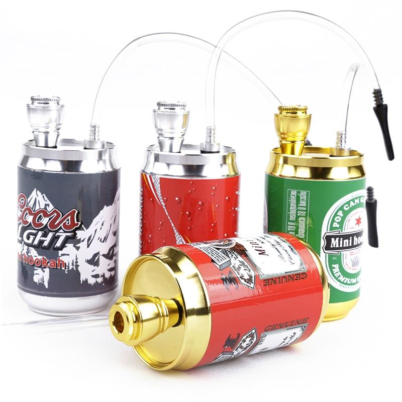 Mini Hookah Shisha Tobacco Smoke Water Pipe Colorful Metal Cans Coke Bottle Dia5CM Height 10CM Holder Filter Drop Shipping