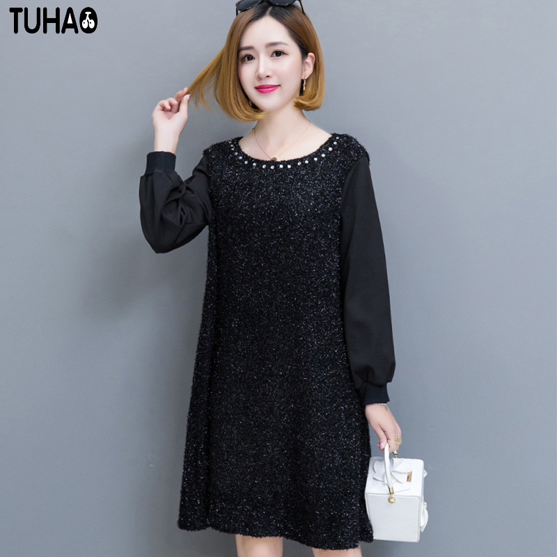 TUHAO Black Soft Knitted Sweater Dress Women Loose Warm Fleece 2017 Winter Office Lady Work Party Large Size Femme Dresses BY54
