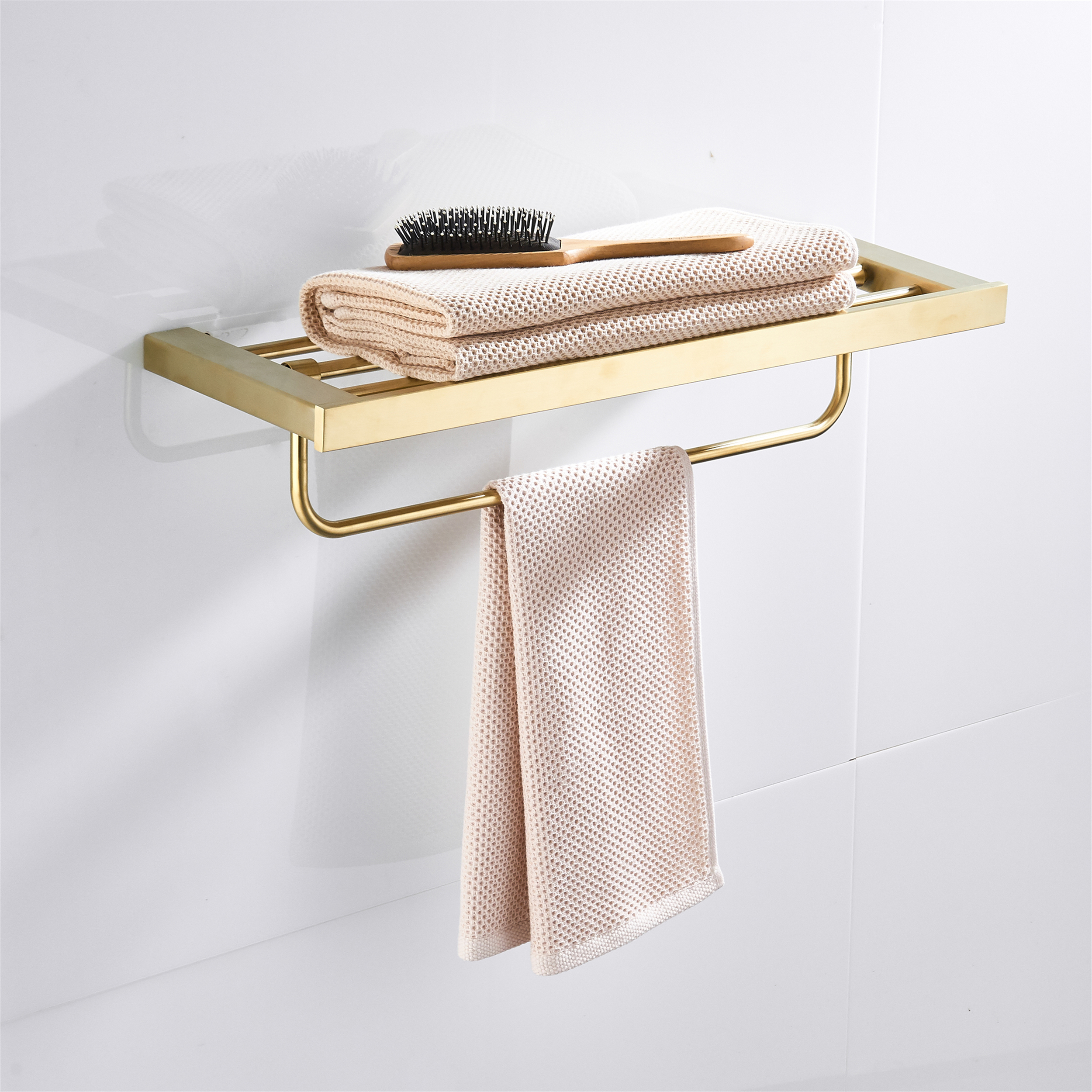 SUS304 Stainless Steel Wall Mounted Brushed Gold Towel Rack Towel Hanger With Towel Bars Bathroom Hardware Accessory HolderSUS304 Stainless Steel Wall Mounted Brushed Gold Towel Rack Towel Hanger With Towel Bars Bathroom Hardware Accessory Holder