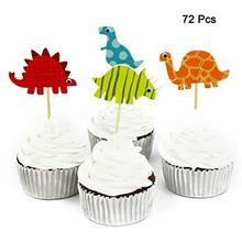 METABLE 72 Pcs Dinosaur Cupcake Picks Toppers Food Fruit for Dinosaour them birthday party Decoration