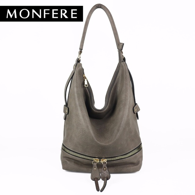 Monfere large casual HOBO fashion faux leather zipper shoulder bags female leisure luxury handbags women bags designer neutral