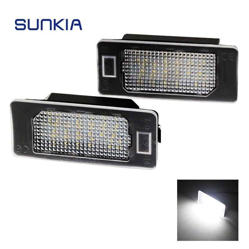 SUNKIA 2 Pçs/set LEVOU Licença Placa de Luz para BMW E39 E60 E61 E70 E82 E90 E92 24SMD Erro Livre Brilhante Cor Branca Quente venda