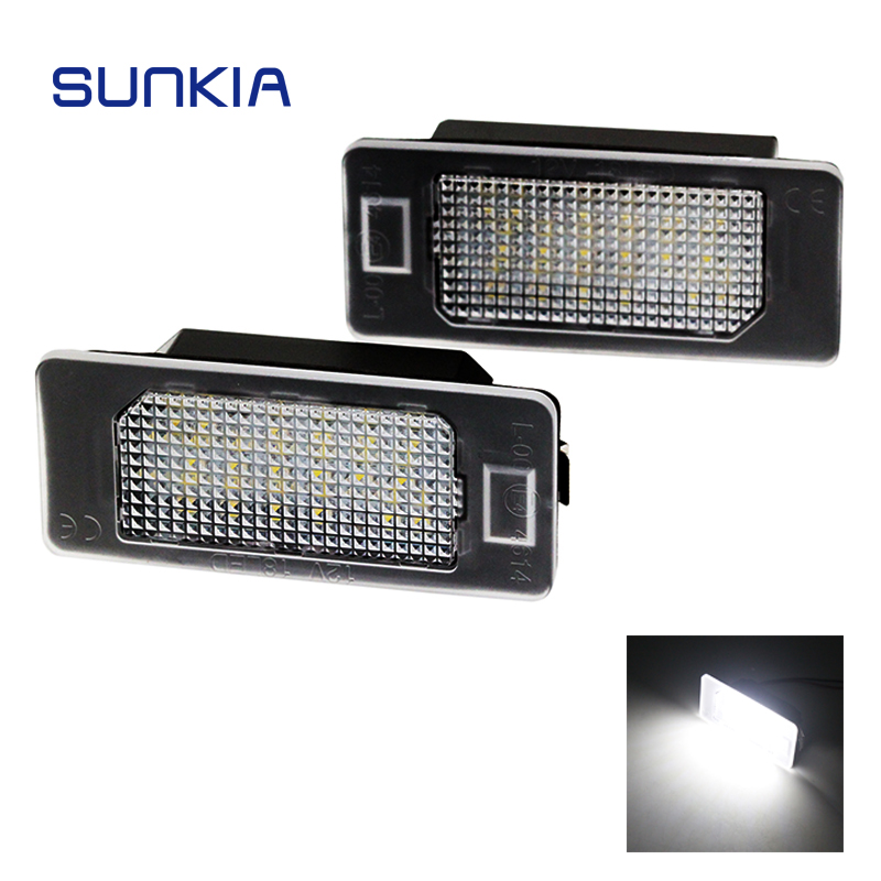 SUNKIA 2Pcs/Set LED License Plate Light for BMW E39 E60 E61 E70 E82 E90 E92 24SMD Error Free Bright White Color Hot Selling 2pcs led license plate light lamp 24 smd led license plate light lamp white error free for bmw e39 e60 e61 e90 e91 m3 m5 x5 x6